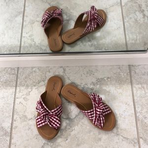 Red Check Slide Sandals